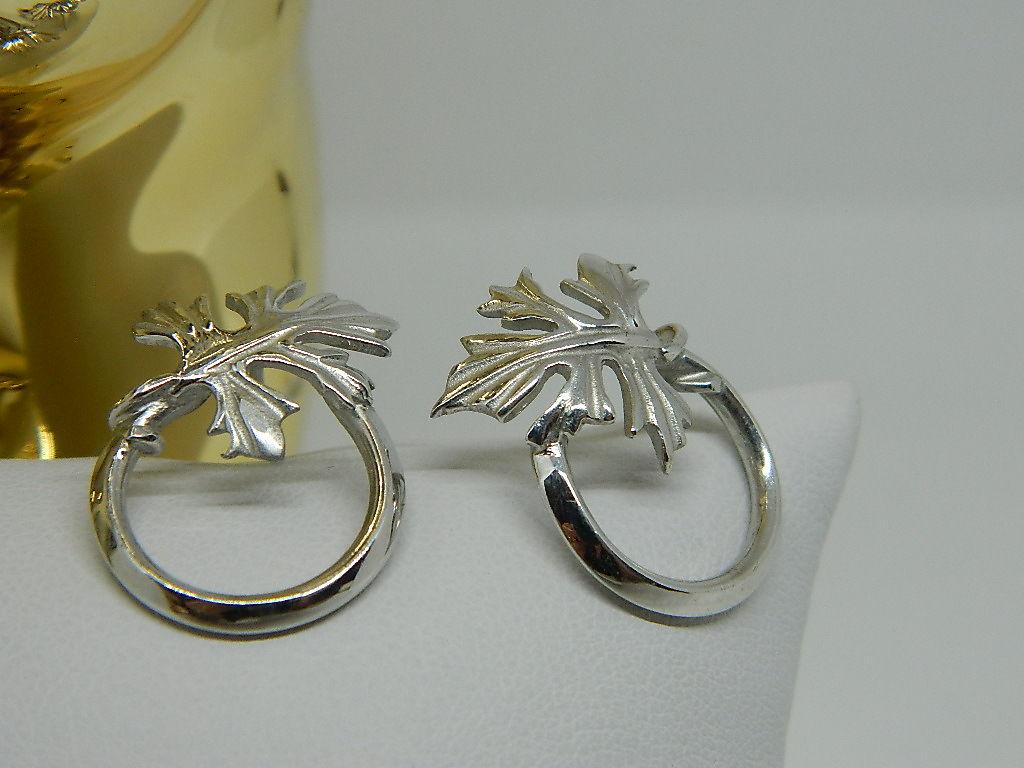 Boucles d'oreilles feuilles tiges créoles Argent 925 rhodié