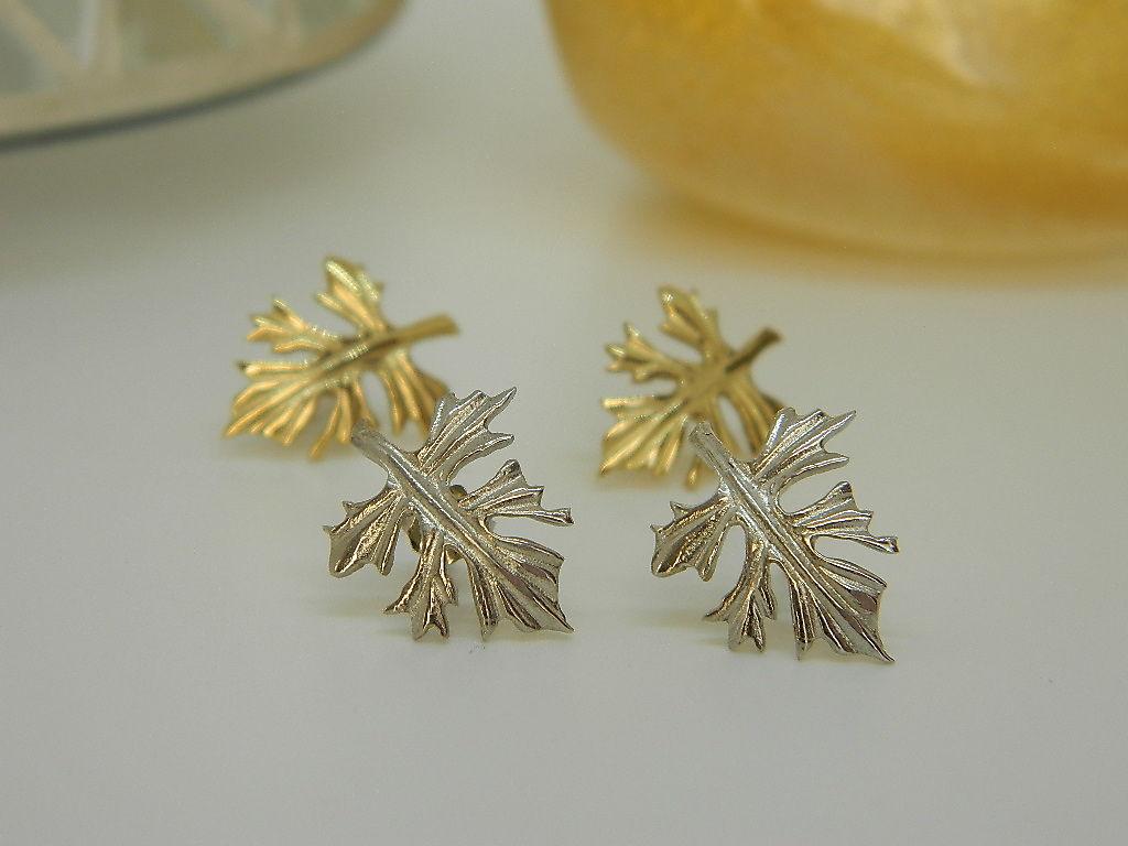 Boucles d'oreilles feuilles tiges Argent 925 rhodié et Vermeil