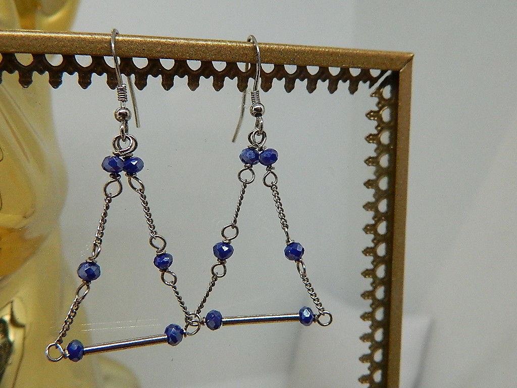 Boucles d'oreilles triangle cristal chaîne