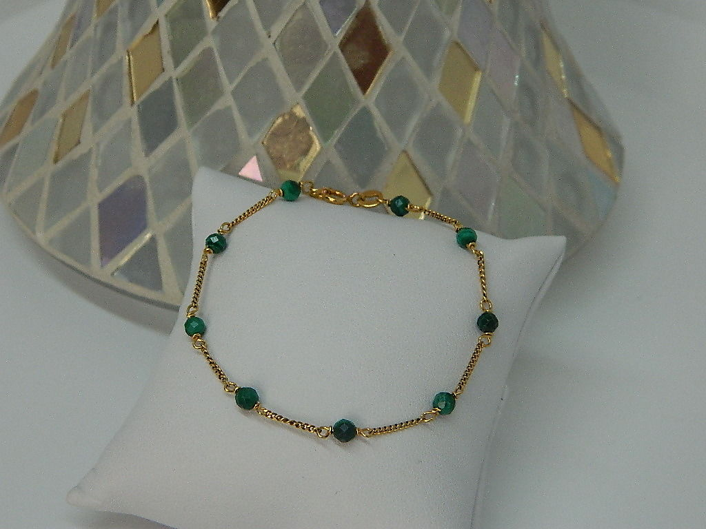 bracelet maille gourmette Malachite