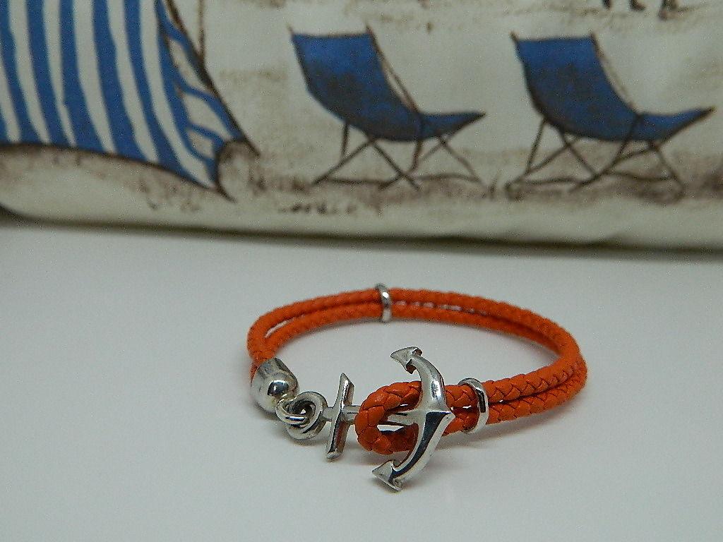 bracelet Ancre cuir tressé argent 925 rhodie