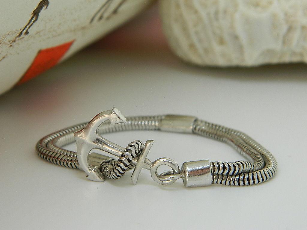 bracelet Ancre serpent argent 925 rhodie