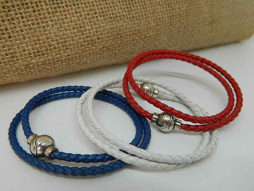 bracelet cuir tressé fermoir étain bola