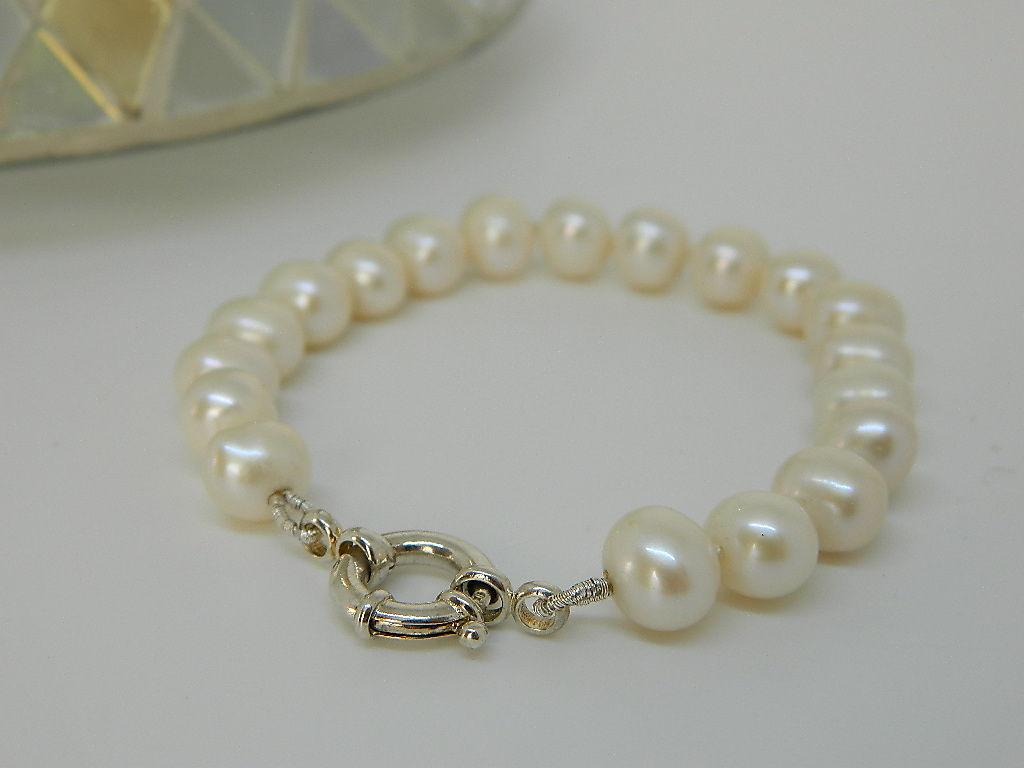 bracelet perle de chine fermoir à ressort argent 925