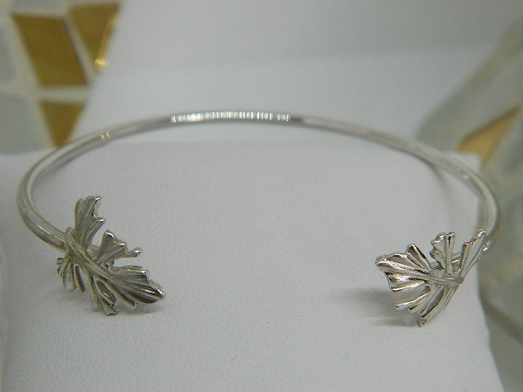 bracelet feuilles jonc argent 925 rhodie
