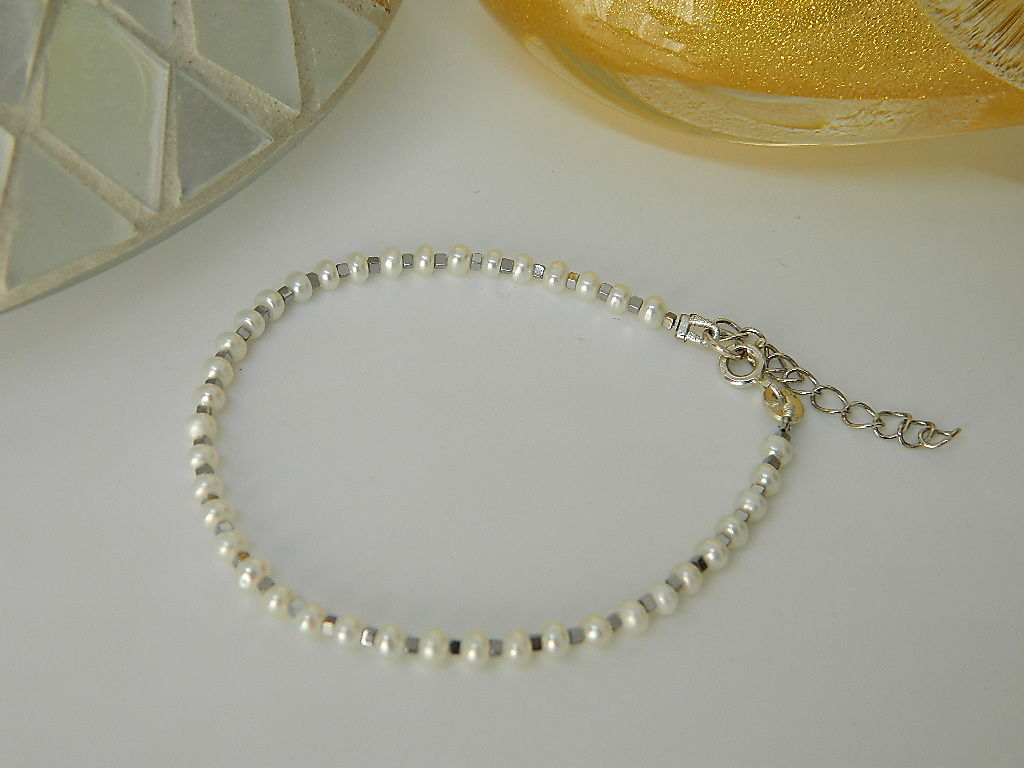 bracelet perles eau douce Hématite argent 925