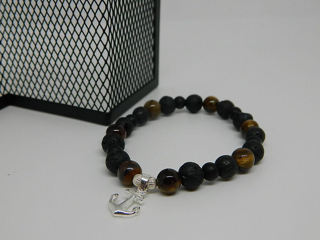 bracelet pierre volcanique agate œil de tigre breloque ancre argent 925