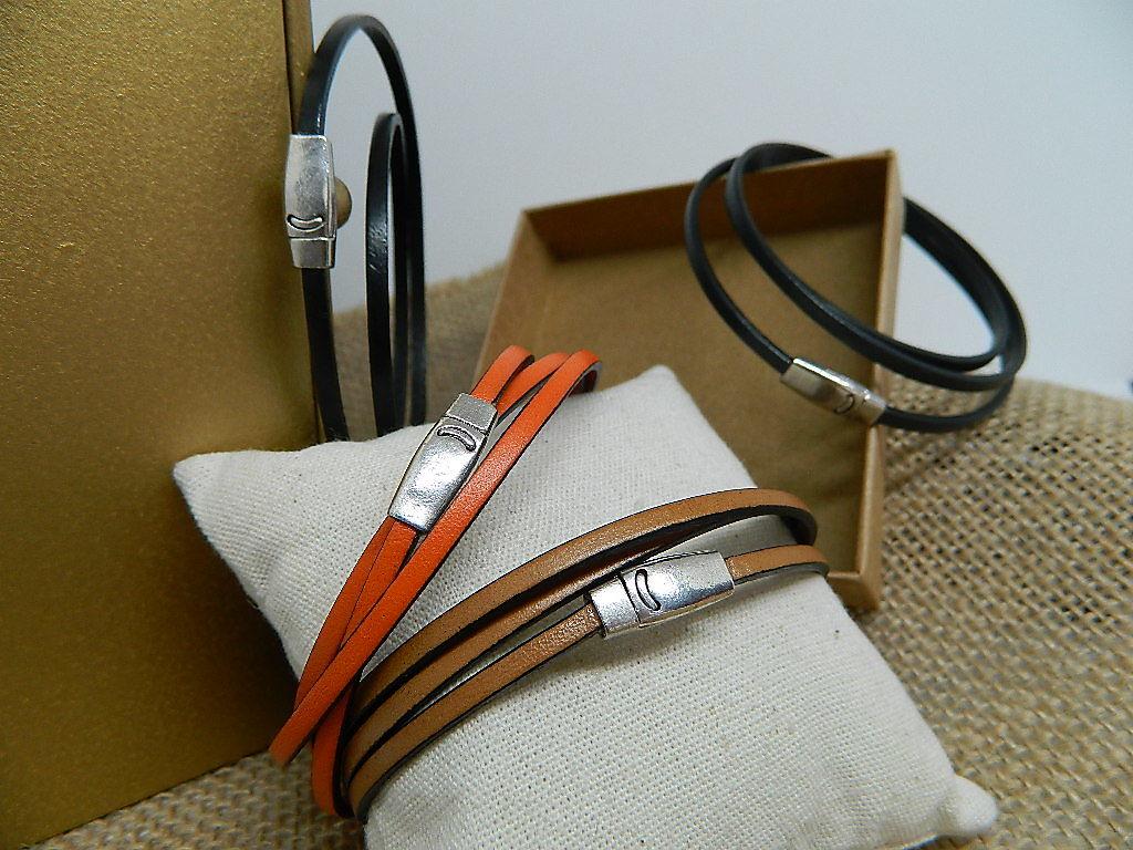 bracelet cuir fermoir aimanté plaqué argent