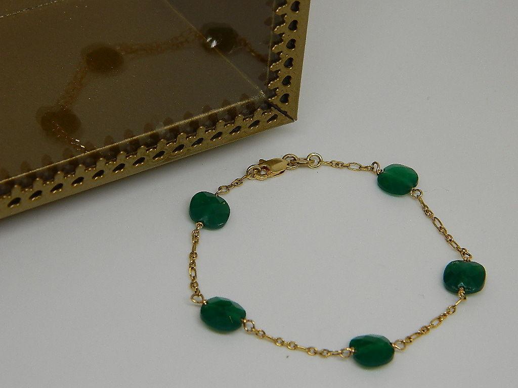 bracelet onyx vert maille figaro et Vermeil