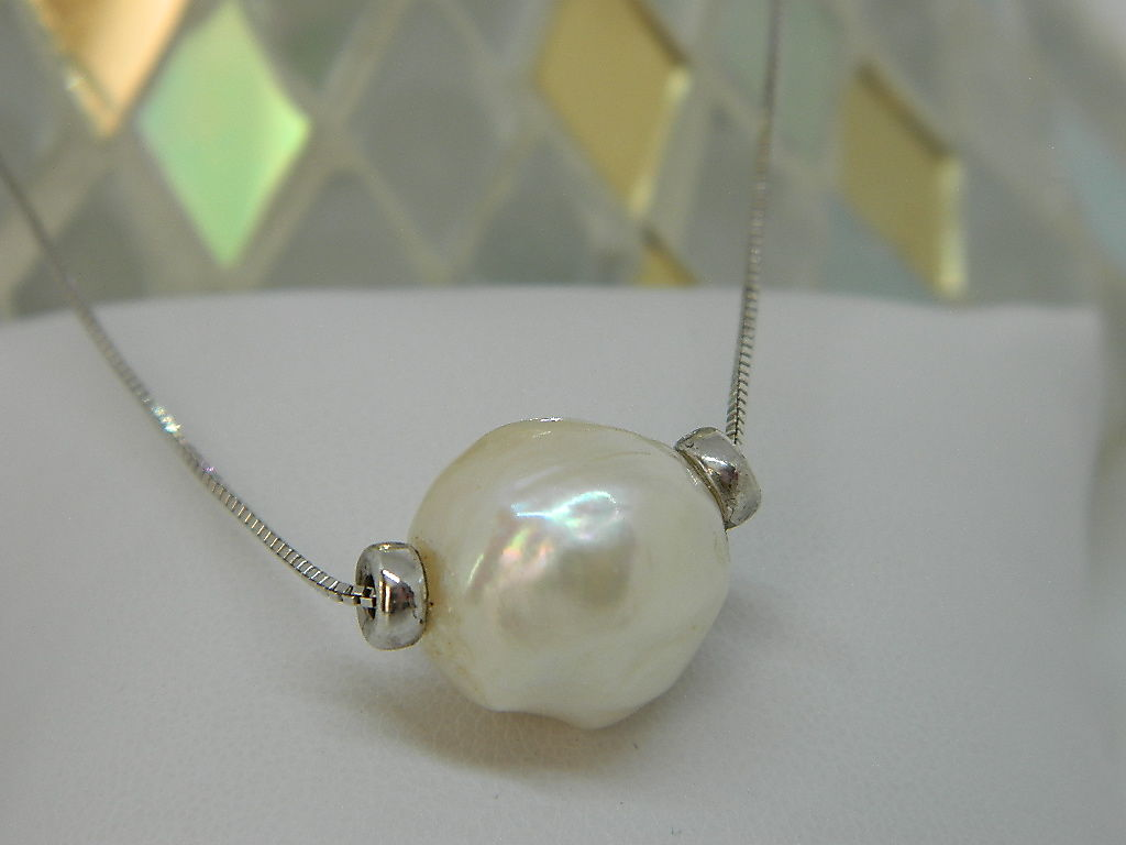 collier virolles perle de chine - argent 925 rhodié