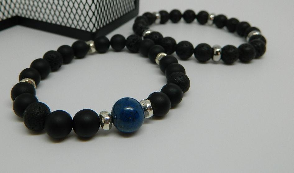 bracelet perles volcanique chrysocolle agate homme argent